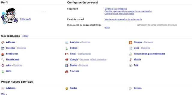 Escritorio de una cuenta de Google