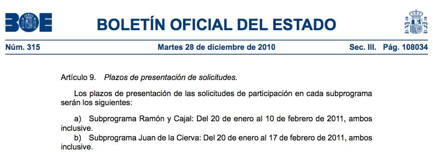 BOE-ayudas Ramón y Cajal y Juan de la Cierva