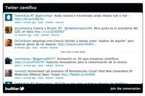 Nuevo widget de Twitter con un timeline relacionado con temas científicos