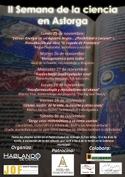 Pulsar para ampliar el cartel de la II Semana de la ciencia de Astorga.