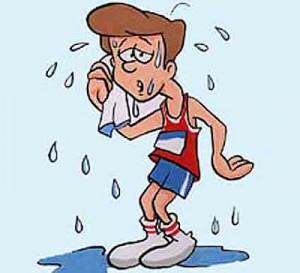 imagen de caricatura de chico sudando