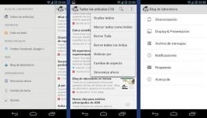 Capturas de pantalla de la aplicación de Blog de laboratorio